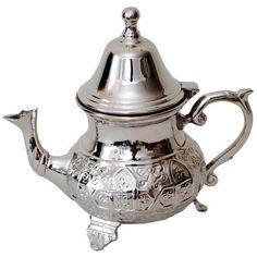 Moroccan Silver Tea Pot (320 SAR) ❤ liked on Polyvore featuring home, kitchen & dining, teapots, coffee & tea service, coffee & tea sets, silver tea set, silver tea pot, moroccan teapot, moroccan silver tea set and tea sets