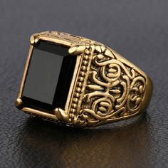 Vintage Faux Gemstone Square Ring For Men #CLICK! #clothing, #shoes, #jewelry, #women, #men