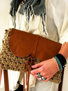 Boho native crochet/ leather crossbodybag by Franellie