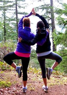 modified tree pose :) Partner yoga looks fun! @Shelby Gail, we should do it!