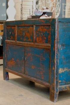 Rustic Fall vibes in weathered paint, it's the season for Shabby Chic inspiration! Distressed Dresser, Distressed Furniture, Funky Furniture, Paint Furniture, Repurposed Furniture, Shabby Chic Furniture, Rustic Furniture, Furniture Makeover, Vintage Furniture
