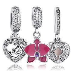 Original 925 Sterling Silver Radiant Orchid Snowflake MOM Daisy Charm Fit Pandora Bracelet CZ Dangle DIY Accessories