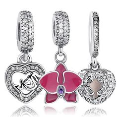 Original 925 Sterling Silver Radiant Orchid Snowflake MOM Daisy Pendant Beads Charm Fit Bracelet & Dangle Jewelry Accessories
