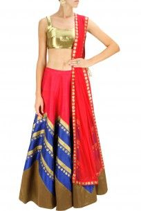 Gold, red and blue sequins embroidered lehenga set