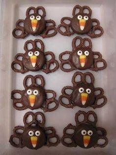 Oreos, pretzels, candy corn, sugar eyeballs. Cool!