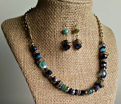 Blue and Gold Beaded Necklace Set