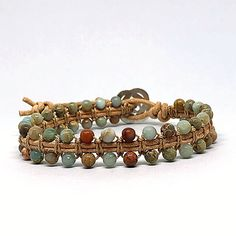 Items similar to Jasper Wrap Bracelet, Double Beaded Wrap on Etsy Presents For Women, Gifts For Mum, Gifts For Women, Ankle Bracelets, Bracelets For Men, Beaded Bracelets, Bangles, Necklaces, Beaded Leather Wraps