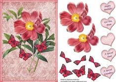 Peony Rose with Butterflies on Craftsuprint designed by Barbara Alderson - step by step decoupage on a card front with a choice of sentiments - Now available for download!