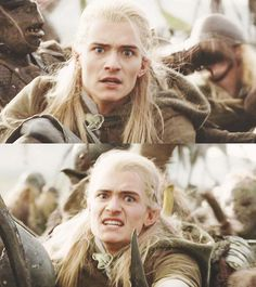This is the moment when Legolas sees Aragorn fighting for his life with that monstrum. #fearinhiseyes