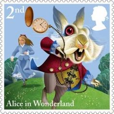 UKAliceStamp Happy 150th Anniversary to Alice's Adventures in Wonderland by Lewis Carroll, 1865