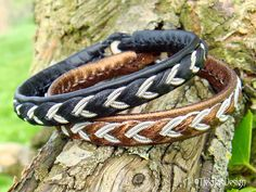 ODIN Black Leather Sami Bracelet - Custom Handmade Norse Mythology Jewelry in Reindeer Leather, Spun Pewter Silver wire and Antler Button from Tjekijas.