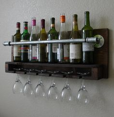 Industrial Rustic Modern 8 Bottle Wall Mount Wine Rack by KeoDecor