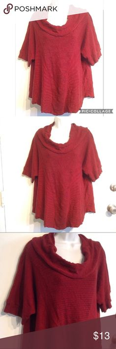 🌟5 for $25🌟 PLUS SIZE Knit Cowl Neck Sweater Nu Options Woman plus size red and black knit short sleeve cowl neck sweater. Lightweight yet cozy. Dolman sleeves. Stretchy. Size 2x. No modeling. Smoke free home. Everything in my closet is 5 for $25! Nu Options Sweaters Cowl & Turtlenecks