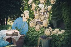 Entrance to Tuscan Garden Ceremony....gents take a hat, gals take an umbrella and enjoy the summer weather.