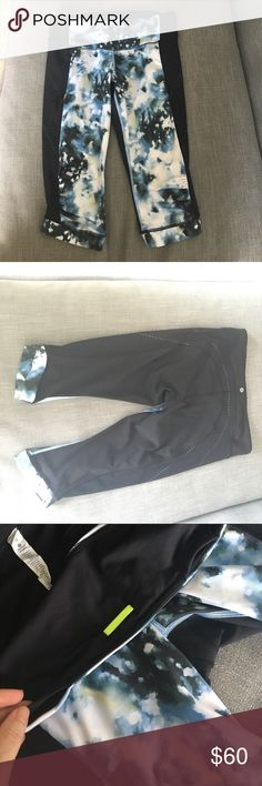 Lulu lemon cropped running tights Worn a few times, great condition. Rushing at knees, front pouch pocket and side zip pocket. lululemon athletica Pants Leggings