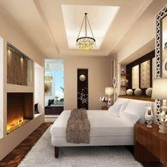 A cozy, modern master bedroom.