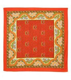 Foulard Coton «Le Serpent » rouge 80x80 cm