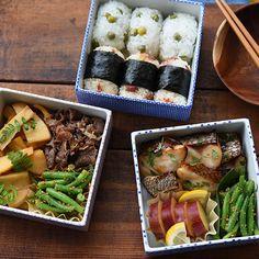連載冨田ただすけさんの旬の献立 Vol.5-風情があるね桜の木の下お重弁当 Sandwiches, Rice Balls, Japanese Dishes, Fresh Rolls, Bento, Pasta Salad, Sushi, Good Food, Lunch Box