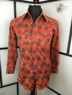 Mens Orange Shirt, Vintage Western Shirt, Circle Shirt, Button Down Shirt, Size Medium by InBeetweenVintageCo on Etsy