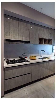 Kitchen Layout Interior, Modern Kitchen Interiors, Luxury Kitchen Design, Kitchen Room Design, Modern Kitchen Cabinets, Home Decor Kitchen, Dark Cabinets, Kitchen Ideas, Nice Kitchen