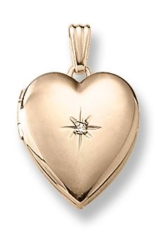 25f97573a37c gold filled x inch heart locket with genuine ct. diamond suspended on an 18  inch rope chain.