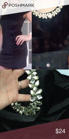 Velvet black dress jewel mini collar Zips up the back soft velvet with adorable sparkling collar. Missing 1 jewel ships Immediately Dresses Mini