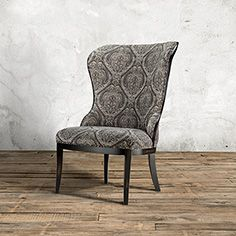 Portsmouth Upholstered Dining Side Chair in Gage Dove and Aged Black