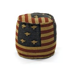 Furniture Home Decor Collection Vintage Style Round Flag Pouf Ottoman Made from Wood & Jute Kilim.  White Owl and Company offers a full line of Home Decor and Home Furnishings.  www.WhiteOwlCompany.com