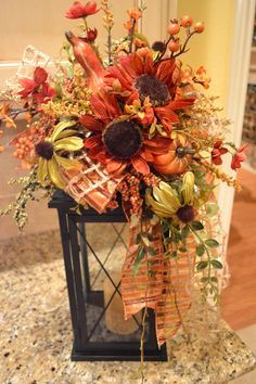 Welcome to Share Your Creations party I hope you will link up and join in the fun! I'm seeing lots of great fall and Halloween inspira. Fall Lanterns, Lanterns Decor, Fall Swags, Fall Wreaths, Red Sunflowers, Autumn Decorating, Decorating Ideas, Fall Flowers, Autumn Inspiration