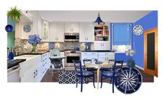 """kitchen blues"" by sterlingkitten on Polyvore featuring interior, interiors, interior design, home, home decor, interior decorating, Liora Manné, Uttermost, LBL Lighting and KitchenAid"