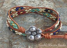 Wrap Bracelet, Double Wrap Bracelet, Beaded Leather Bracelet, Beaded Cuff Bracelet, Leather Wrap Bracelet, Boho Bracelet, Bohemian Bracelet