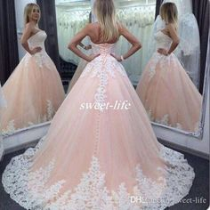 2016 Vintage Quinceanera Ball Gown Dresses Sweetheart Pink Lace Appliques Tulle Corset Long Girls Sweet 16 Cheap Party Prom Evening Gowns Online with $117.93/Piece on Sweet-life's Store | DHgate.com