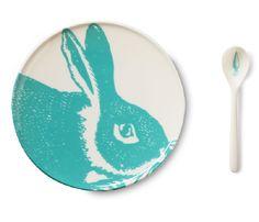 Thomas Paul Bunny Melamine  plate & spoon