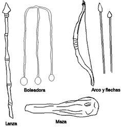 Armas de los                             Mapuches: lanza, arco y flecha, boleadora,                             maza Bobby Pins, Hair Accessories, Chile, People, Arch, Arrows, Prehistoric Animals, Drawing Drawing, People Illustration