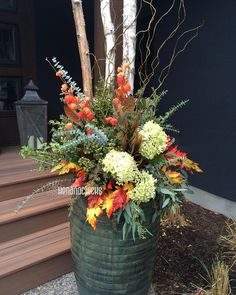 22 Beautiful Fall Planters for Easy Outdoor Fall Decorations 22 gorgeous fall planters for Thanksgiving & fall decorations: best fall flowers for pots, & great autumn planter ideas with mums, pumpkins, kale, & more! - A Piece of Rainbow Fall Flower Pots, Fall Flowers, Colorful Flowers, Outdoor Pots, Outdoor Flowers, Outdoor Flower Planters, Indoor Outdoor, Backyard Planters, Patio