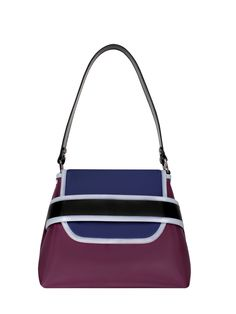 GOSHICO, aw2015, shoulder bag, navy blue + purple + black. To download high or low resolution product images view Mondrianista.com (editorial use only).
