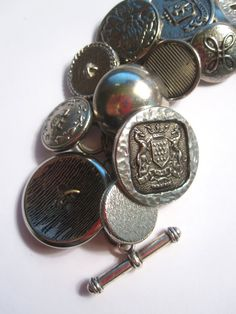 Antique Silver Button Charm Bracelet by Untimed on Etsy, $36.00 **Last day of sale!
