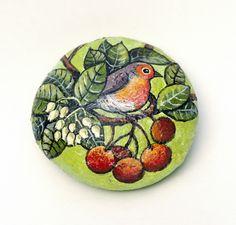 #Dipinto su #pietra - PETTIROSSO - Opera d'arte - Idea regalo - oggetto da collezione, by creo.sostenibile, 13,00 € su #misshobby.com