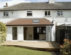 single storey extension - Like this one - simple, similar to existing setup with utility door House Extension Design, Roof Extension, Extension Ideas, Extension Google, Bungalow Extensions, House Extensions, Kitchen Extensions, Conservatory Kitchen, Conservatory Ideas