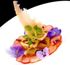 Elderflower Smoked Halloumi, Rhubarb Relish, and Edible Flowers (recipe).