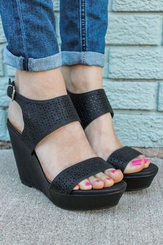That doesn't like cute wedges?, find out our fabulous selection of zip-back and belt wedges for every special occasion! Leather Wedges, Leather Booties, Wedges Online, Shoe Boutique, Online Clothing Boutiques, How To Make Shoes, Unique Shoes, Black Wedges, Womens Shoes Wedges