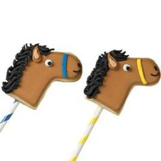 Stick-pony cookie pops race into first place at bake sales, sporting events or birthday parties. Create horse heads using the stocking cutter from our 101 Cookie Cutter Set, color flow icing and piped-icing details.