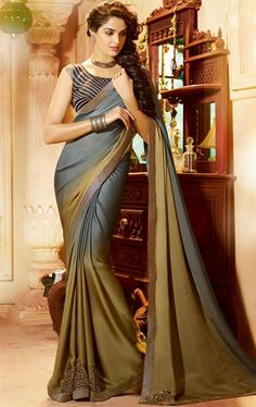 Glorious Grey and Mehendi Color Satin Saree