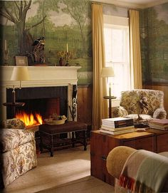 Thomas Jayne: South Carolina den   Beautiful wall mural and like the bench in front of the fireplace.
