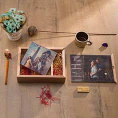 An elegant canvas printed hardbound album in a creative pine woodbox. Rustic album packaged to perfection