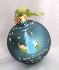 New Addition Baby Ornament  Boy  Personalized by SarEi on Etsy, $26.00