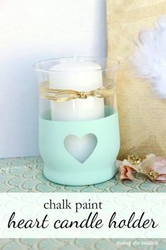 Super simple candle holder with chalk paint. Cute and easy enough for anyone to do! // A cute and easy craft to update your spring decor!