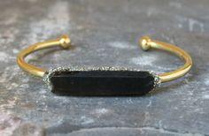 Gemstone Raw Cuff - Smoky Quartz Bracelet - Gold Rough Jewelry - Smokey Quartz Jewelry - Best Gift for Wife - Bracelet Gemstone