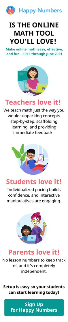 While you teach small groups, Happy Numbers individualizes instruction for the rest of the class, and gives you actionable insights about student growth. New users can create a free account through the rest of the year — so sign up today! It takes just 3 simple clicks to set up. Kindergarten Math Activities, Kids Learning Activities, Homeschool Math, Teaching Math, Teaching Geometry, Homeschooling, School Closures, 4th Grade Math, Math Centers