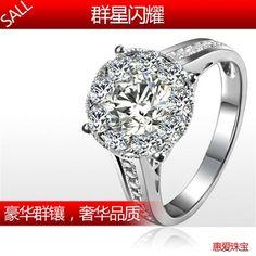 18K white gold 76 points luxury group 3 kt diamond ring effect